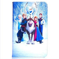 Wholesale Cartoon Smart Cover - Cartoon Movie Elsa Anna Olaf Smart Cover Leather TPU Inner Case With Stand For Samsung T550 T560 T580 T280 T350 T800 T530