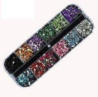 decorações em strass para iphone venda por atacado-2000 Pcs 12 Cores Prego Brilhante Pedrinhas Glitter Acrílico Nail Art Decoração 1.5mm 2mm Para UV Gel Iphone e laptop DIY Prego ferramentas