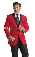 esmoquin para novio rojo al por mayor-2018 Diseño personalizado Dos botones Esmoquin de novio rojo Solapa de muesca negra El mejor hombre Los padrinos de boda Hombres Trajes de boda (Chaqueta + Pantalones + Faja + Corbata)