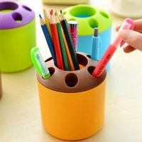 Wholesale Dental Cups - Confectionery color pencil holder with seven holes for office supplies receive a cup of dental cup