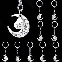 Wholesale Love Zinc Alloy Metal - I Love You to the Moon and Back Heart Family Member Keychains Letter Grandma Grandpa Son Dad Sister Best Friend Key chain Key ring 170706