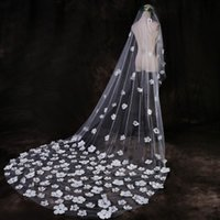Wholesale Wholesale Cathedral Wedding Veils - 2017 3D Floral Appliques Wedding Veils Bead One Layer Tulle Bridal Accessories 3M Long Custom Made Veil