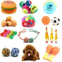 gummibälle für hunde großhandel-Verschiedene Haustier Hund Katze Spielzeug Zähne Backenzahn kaut Training im Freien interaktive Spiel Spielzeug Sound Gummiball Seil Ball Frisbee