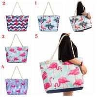 Wholesale Flamingo Handbags - Women Bag Polyester Waterproof Handbag Summer Beach Bag Flamingo Anchor Printed Large Size Tote Bags Travel Holiday Handbags YYA611