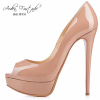 Wholesale Dress Red Nude - 2017 summer pumps high heels 12cm peep toe nude Stiletto dress shoes platform patent leather rose red silver plus size small size 33