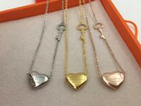 Wholesale Korean New Love - Wholesale 2017 new version forever love titanium peach Heart Key Necklace for female Korean fashion women necklace do not fade