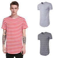 Wholesale fashion clothing summer youth - 2pcs New Summer Striped Shirt Men Casual Brand Clothing High Quality Streetwear Youth Male Tops Short Sleeve T Shirt XXL ZL3432