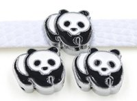 Vente en gros - 50pcs / lot 8mm Panda Slide Charms Fit pour 8MM DIY Pet Collar bracelet en cuir Bracelet
