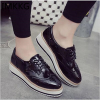 Wholesale Ladies Pu Sole Shoes - Wholesale- 2016 hot Style Fashion Women Casual Leather Platform Shoes Woman Thick Soled Lace Up Oxfords Zapatos Mujer Ladies Creepers k801