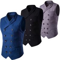 Wholesale Black Slim Fit Waistcoat - Wholesale- Fashion Slim Fit Leisure Waistcoat Double Breasted Men Suit Vest Tuxedo Formal Business Jacket Sleeveless Blazer Black Navy Gray