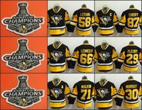 Wholesale Murray S - Youth Pittsburgh Penguins 87 Sidney Crosby 29 Fleury 30 Murray 58 Letang 66 Lemieux 71 Malkin Black Hockey 2017 Stanley Cup Champions Jersey