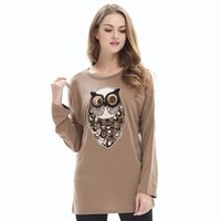 Wholesale Owl Bat Shirt - 2017 Hot Sale Europe America Women Winter Fashion Bottoming Shirt Dacron T-shirt Loose Bat Sleeve Owl Long Sleeved Knit Shi