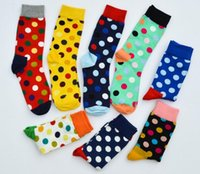 Wholesale Wholesale Polka Dot Socks - Fashion embroidery dot Happy socks fashion men's polka dot socks men's casual cotton color socks