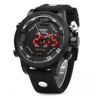 Wholesale Ohsen Luxury Watch - Ohsen Big Dial Sports Mens Watches Top Brand Luxury Analog LED Quartz Silicone Men Watch Digital Water resistant Military Clock