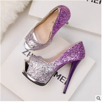 Wholesale Evening Women High Heel Wedges - wedge sandals high heels elegant sexy fashion women lady gradient sequins high heels evening wedding shoe