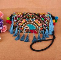 Wholesale Hmong Bags - Wholesale- New arrival Hmong embroidery Cover Small bags Woman Canvas Messenger Shoulder bags Ethnic Handmade Tassel bags CA033