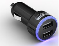 Wholesale Color Ring Usb Car Charger - 2017 LED Blue Light Color Ring Circle Double 2 DUAL MINI USB CAR DC CHARGER 5V 2.1A FOR galaxy note IPOD IPHONE 5 MP3 MP4 Black White