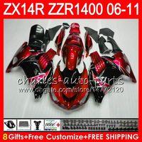kawasaki ninja zx14r venda por atacado-Corpo Para KAWASAKI NINJA ZZR1400 14 R ZX14R 06 07 08 09 10 11 63HM11 Pérola Vermelha ZZR 1400 ZX-14R ZX 14R 2006 2007 2008 2009 2010 2011 Carenagem