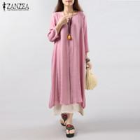 Wholesale Long Sleeve Chiffon Dot Dress - Wholesale- 6 Colors ZANZEA 2016 Women Vintage Cotton Linen Dress Casual Loose 3 4 Sleeve Long Maxi Dresses Plus Size S-5XL Vestidos