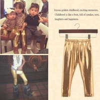 Wholesale Girls Black Leather Pants - Fashion Baby Girl Leggings Child Shiny Silver Gold Black Leggings Faux Leather Pants For 0~2 Years Baby 8 p l