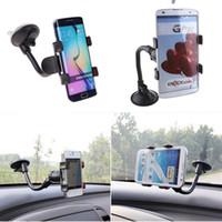 iphone için emiş aparatı toptan satış-Toptan-araba 360 Derece Rotasyon Uzun Kol Cam Montaj Braketi iPhone Android Telefon için Vantuz ile Standı GPS yüksek kalite