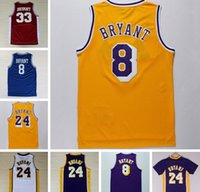 Wholesale Basketball Bryant - Wholesale 24 Kobe Bryant Jersey 8 Throwback High School Lower Merion 33 Kobe Bryant Retro Shirt Uniform Yellow Purple White Black Blue Red