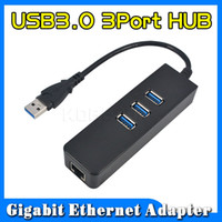 Wholesale Wholesale Ethernet Hubs Ports - Wholesale- High speed 3 Ports USB 3.0 Hub 10 100 1000 Mbps To RJ45 Gigabit Ethernet LAN Wired Network Adapter Converter For Windows Mac