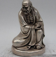 Wholesale Chinese Silver Statue - Chinese Chan Sect White Bronze Silver GIlt Damo Bodhidharma Dharma Arhat Statue