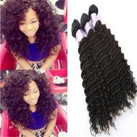"Wholesale Brazilian Hair Mixed Length 3pcs - Brazilian Hair Weaves Deep Wave Curly Hair Weft 3Pcs Lot Mixed Length 100% Human Hair Weaving 10"" - 30"" 100g pc"