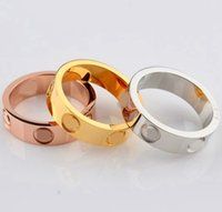 Wholesale Men Ring Design Stone - top quality classic design famous brand jewelry fashion women and men 316L stainless steel rose gold lovers finger ring love rings no stone
