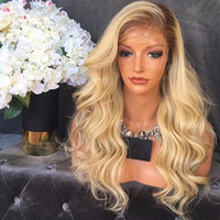 Wholesale Premium Lace Front - Premium Glueless Ombre Blonde Full Lace Human Hair Wigs With Dark Roots Soft European Hair Front Lace Wigs With Baby Hair