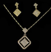 Wholesale Nacklace Set Gold - LT216 New Top 3Colors Gold Color Jewelry Sets Cubic Zircon Pendant Nacklace Earring Women Wedding Jewelry Sets Free Shipping