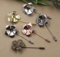 Wholesale Blank Pin Badge - 50*30MM 07672 metal silver Pink Flower Suit Lapel pin men badge, women vintage floral lapel pin brooch blanks backs base, scraf pin up girl