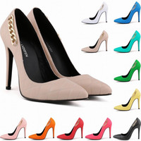 Fashion Ladies Super High Heel Pointed Corset Style Work Pumps Court Chaussures Patent Metal Chain Us Taille 4-11 Chaussures Femme D0019