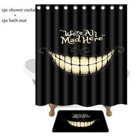Wholesale Funny Mats - Creative Bathroom Set Funny Laugh Mouth We Are Mad Here Waterproof Shower Curtains 150*180cm with Bath Mats 40*60cm Bath Curtains Mats Set