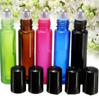 Wholesale Essential Oil Blue Glass Bottle - 10ml 1 3oz THICK ROLL ON GLASS BOTTLE Fragrances ESSENTIAL OIL bottle Roller Ball 200pcs lot Blue Green Pink Black Amber Mixed F2017222