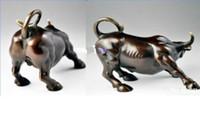 "Wholesale Blue Metal Wall Art - 5.5"" Big Wall Street Bronze Fierce Bull OX Statue"