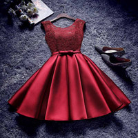 Wholesale Satin Bow Stocking - Champagne Burgundy Silver Cheap Short Bridesmaid Dresses under 50 Dollars Lace Satin Cap Sleeves Maid of Honor Cocktail Party Dress