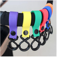 Wholesale High Quality Plastic Hangers - Plastic Baby Stroller Accessories Pram 2 Hooks High Quality Pushchair Car Hanger Hanging Strap 18 Color