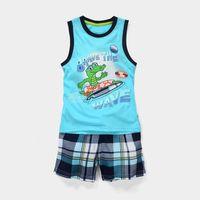 Wholesale New Set Boy - Children Cartoon Clothes Big Boys crocodile Printed Vest +Shorts Sets Fashion Kids Cotton Summer Outfits 2 pcs New