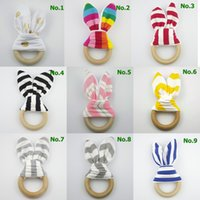 Wholesale Chevron Fabric Wholesalers - 2017 New Bunny Ear Teether Baby Teething Ring Wooden Crinkle Minky Fabric Baby Teething Toy Chevron Polka Dots Striped 20 Patterns Teether