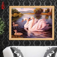 Wholesale Oil Paintings Swans Canvas - YGS-209 DIY 5D Full Diamond Embroidery Swans swimming Round Diamond Painting Cross Stitch Kits Diamond Mosaic Home Decoration