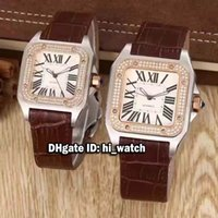 Wholesale Cheap Womens Gold Watches - Super Clone Luxury Brand Cheap 39mm 33mm Santo 100 Rose Gold Diamond Bezel White Dial Roman Numerals Automatic Mens Womens Watch Leather