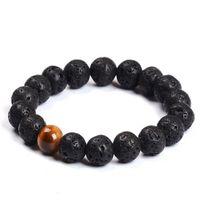 Wholesale Tigers Eye Stone Sale - Wholesale Natural Lava Rock stone Popular sale lava beads bracelet Lava stone Bracelet with Tiger eye beads 8mm ball bracelet