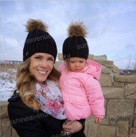 Wholesale Knitted Mink Fur Cap - Mom and Baby Matching Knitted Hats Warm Fleece Crochet Beanie Hats Winter Mink PomPom Kids Children Mommy Headwear Hat Caps
