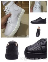 Wholesale Cheap Leather For Dresses - 2017 New Fashion White Genuine Leather High Top Red Bottom Sneakers for mens womens cheap men leisure Designer Luxury dress shoes