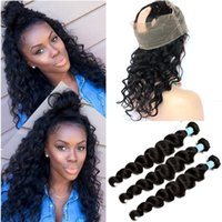 Wholesale Weaved Hair Bands - Pre Plucked 360 Lace Frontal Closure With 3 Bundles 9A Brazilian Loose Deep Wave Virgin Human Hair Weave With Full Lace Band Frontal