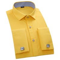 Wholesale Top Quality Cufflinks - Wholesale- Mens Top Quality French Cufflinks Shirts Long Sleeve Business Slim Fit Social Dress Shirts Black White Yellow Pink Men Clothing