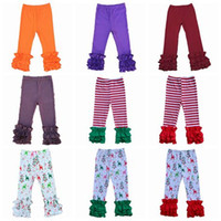 Wholesale Christmas Leggings For Kids - 2017 fall winter toddler ruffle leggings tights solid striped pants kids cotton pant infant trousers christmas clothes for girls wholesale