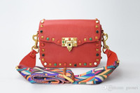 Wholesale Nice Black Leather Bags - Nice New Genuine Leather Rock Color Stud Handbags Women Fashion Color Rivets Shoulder Bags Easy Matching For Valentines